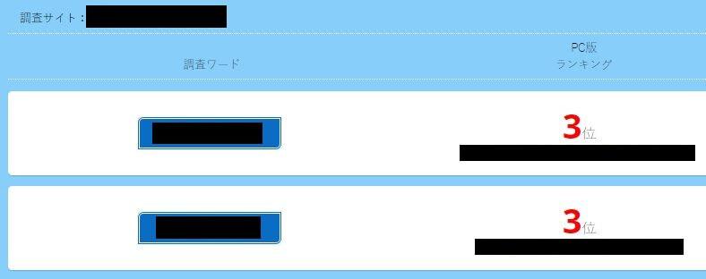 SEOピッシュを使った順位チェック結果