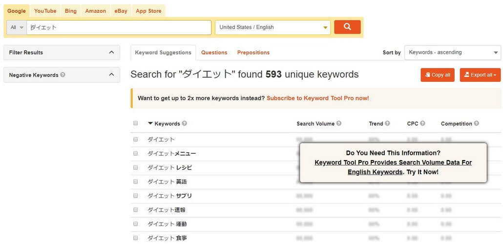 KeywordToolで取得したキーワード
