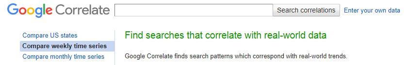 GoogleCorrelationのトップ画面