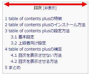 table of contents plusの目次の横幅の説明